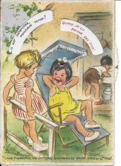 GERMAINE-BOURET-CARTE-SYSTEME-DISQUE-Nous-passons-de-bonnes-vacances