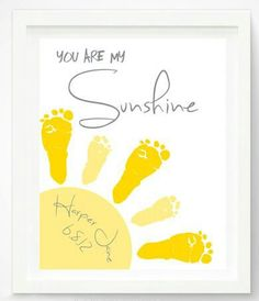 Baby Footprint Art - You Are My Sunshine Art Print. Cutest footprint art I've seen! Crafts To Do, Crafts For Kids, Arts And Crafts, Crafts With Babies, Baby Feet Crafts, Newborn Crafts, Toddler Crafts, Projects For Kids, Craft Projects