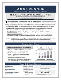 President, CEO, Board Advisory -- Global Page 1 | Resume Samples ...