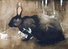 Joseph CRAWHALL 1861 - 1913, Angleterre lUn lapin noir Aquarelle