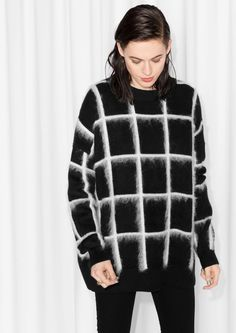 Checked Mohair-Blend Sweater   Black   & Other Stories