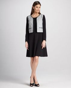 Long-Sleeve Tweed Jacket & Dress by Kay Unger New York at Neiman Marcus.