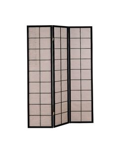 Cappuccino 3 Panel Folding Screen With Fabric Inlay