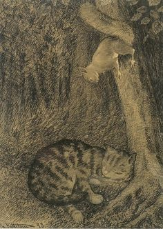 Cat and squirrel (pen on paper) - Theodor Kittelsen (1857-1914)