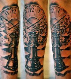 Stunning watch and chess tattoo