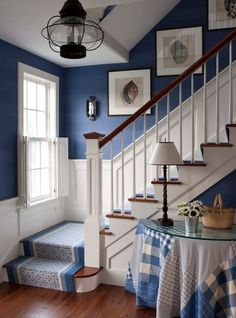 Style At Home, Blue Rooms, Blue Walls, White Walls, Blue Paint Colors, Nautical Paint Colors, Color Blue, House Stairs, Cottage Stairs