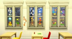 Little set of window deco for elementary schools. DL Dropbox / SimFileShare Made… Sims 4 Windows, Sims 4 Gameplay, Sims Building, Sims 4 Mm, Sims 4 Cc Furniture, Sims 4 Update, Sims 4 Clothing, Sims Mods, Neon Lighting