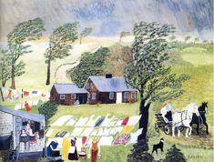 Anna Mary (Grandma) Moses Taking In the Laundry, 1951 Art Style: Naive art Grandma Moses, Carl Spitzweg, Primitive Folk Art, Naive Art, Outsider Art, American Artists, Art World, Illustration Art, Creations