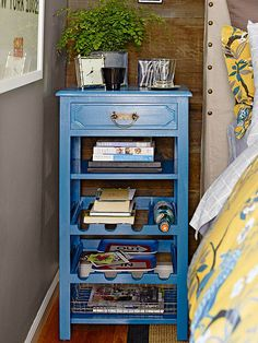 Personal Touches - retro dark-stained side table is updated with turquoise paint, which matches the bedding print.