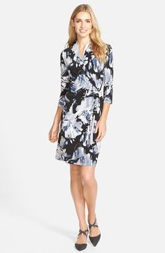 Karen Kane 'Brushed Flower' Print Cascade Faux Wrap Dress available at #Nordstrom