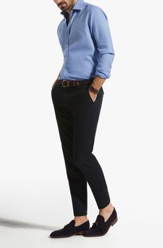 Massimo Dutti Navy Blue Structured Cotton Trousers-$98.50