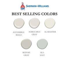 Best Selling Sherwin-Williams Colors Set of 5 Greige Paint Colors, Best Paint Colors, Paint Colors For Home, House Colors, Most Popular Paint Colors, Off White Paint Colors, Best Wall Colors, Gray Beige Paint, Lowes Paint Colors