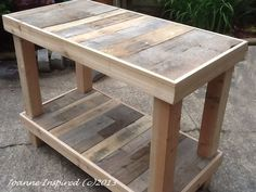 outdoor kitchen table | Pallet Project: Kitchen Island / Work Table
