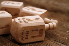 Wooden Dreidel Engraved with Hebrew and English by JustOffNormal