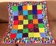 #Baby cat quilt #bright  #cats #cat paws person asked for a very bright cat quilt and this is what I made her!