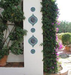 Abstract art for garden, Garden decor made from ceramic, Outdoor Wall Art, Yard art, Circle wall art Ceramic Wall Art, Tile Art, Outdoor Wall Art, Outdoor Walls, Wall Art Sets, Wall Art Decor, Ceramica Exterior, Art Mural En Plein Air, Moroccan Wall Art