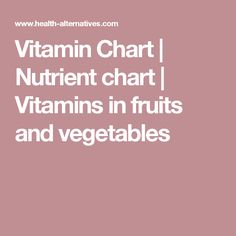 Vitamin Chart | Nutrient chart | Vitamins in fruits and vegetables
