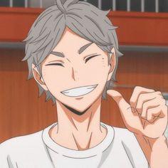 Haikyuu Fanart, Haikyuu Anime, Haikyuu Characters, Anime Characters, Smile Icon, Ushijima Wakatoshi, Sugawara Koushi, Karasuno, Cute Icons