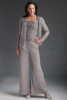53124dcb5a9 cheap three piece Chiffon mother of the dress pant suits with lace
