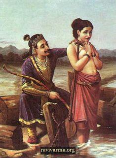 Shantanu and Satyavati :Oil on canvas painting by Raja Ravi Varma
