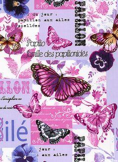 Benartex Fabric Papillon Jolie Butterfly by BelloBerryFabricShop Decoupage Vintage, Decoupage Paper, Vintage Paper, Vintage Butterfly, Butterfly Wings, Purple Butterfly, Scrapbook Paper, Scrapbooking, Butterfly Family
