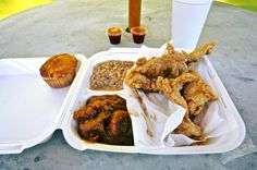 Fried chicken tenders with white acre peas, candied yams, and corn bread at Soul Shack. Prepared as a take-away order, underneath the chicken is a bed of yellow rice. (Photo by Mike Walker)