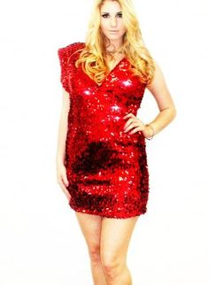 0f3be5504f9 Plus Size Red Sequin Deep V Designer Sequin Dress