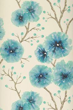 Wallpaper Cerna turquoise blue