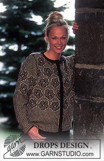 """Gebreid DROPS Vest met ingebreide bloemen van """"Silke-Tweed"""". Maat S - L. ~ DROPS Design"""