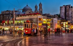 Evening in Taksim by Rana Jabeen - Photo 121246135 / 500px. Evening shot in the lively area of Taksim, Istanbul.  #city #sunset #street #travel #night #istanbul #taksim #turkey #lights #mosque #streetphotography