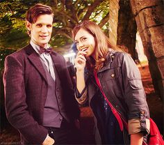 Matt Smith and Jenna Louise Coleman. Doctor Who series 7. - - I'm already prejudiced against this girl. :( Maybe she'll be delightful. ...Witch.