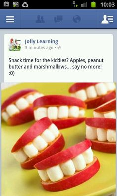 Apple teeth.  My kids love them!!  Funny to watch ... they put the apple-teeth in their mouths like they're the big wax lips.