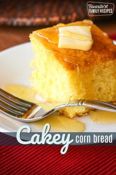 This easy Cake Mix Cornbread is a perfect cross between a cake and cornbread. The texture is fluffy and smooth but has that yummy cornbread taste! This Cake Mix Cornbread recipe is so good! The cornbr Cake Mix Recipes, Dessert Recipes, Desserts, Cake Mixes, Lunch Recipes, Dinner Recipes, Bagels, Croissants, Sweet Cornbread