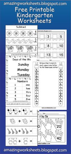 Free Printable Kindergarten Worksheets: Good but some have errors, double check before you print.