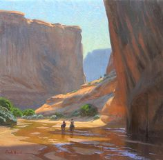 """In the Company of Giants,"" Charles Muench, oil on linen (Arizona) Southwest Art, Southwestern Style, Paintings I Love, Oil Paintings, Classical Realism, Illustration Art, Illustrations, Cowboy Art, Environment Concept Art"