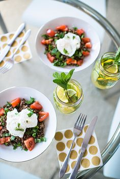 poached eggs + quinoa with balsamic dressing