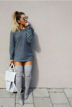 This might sound weird, but I have a really hard time wearing grey boots. Whether they're light or dark, thigh high boots or ankle boots, I can never seem to figure out what to wear them with aside fr Fashion Killa, Look Fashion, Fashion Outfits, Womens Fashion, Fashion Trends, Fashion Black, Fashion Boots, Fashion Ideas, Urban Chic Fashion