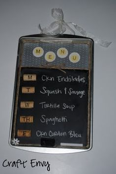 Chalkboard weekly menu made from a cookie sheet