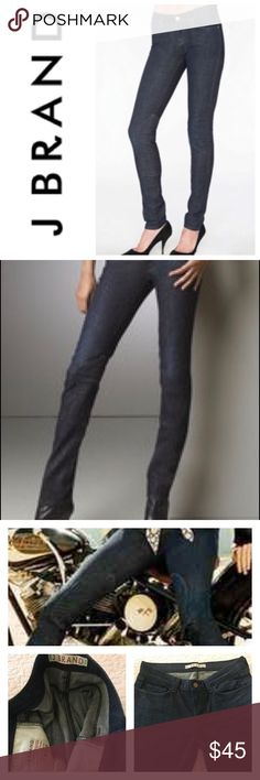 """J BRAND Suzuki Pencil Motorcycle Jean New 5 Pocket Zip Fly Pencil Leg Motorcycle Jean by J BRAND.  Style: Suzuki.  13"""" knee Taperes to 12"""" Ankle.  Inner Side Knee Patch. Dark wash with light distress and gentle whisker detail. Never worn. 7 1/2 rise.  32 inseam.  98 cotton/2 elastane. J Brand Jeans Skinny"""