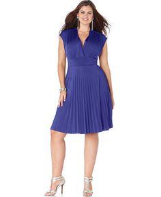 Soprano Trendy Plus Size Cap-Sleeve Pleated Empire Dress - Trendy Plus Sizes - Plus Sizes - Macy's