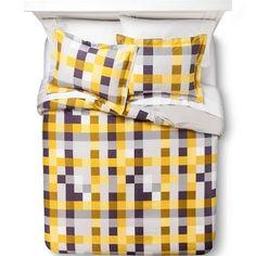 Pixel Plaid Duvet Cover Set with black and gold King Size Duvet Covers, Duvet Cover Sets, Grey Bedding, Bedding Sets, College Dorm List, King Pillows, Pillow Shams, Bed Back, Dorm Life