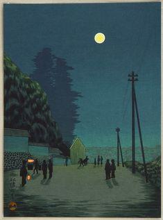 """Moon over a Town Street"" - By Kobayashi Kiyochika"