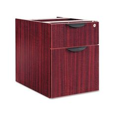 Alera® - Valencia Series 3/4 Box/File Pedestal, 15-5/8w x 20-1/2d x 19-1/4h, Mahogany - Sold As 1 Each - Not freestanding, attaches under worksurface. by Alera Products. $152.99. Alera® - Valencia Series 3/4 Box/File Pedestal, 15-5/8w x 20-1/2d x 19-1/4h, MahoganyNot freestanding, attaches under worksurface. Sturdy four-sided drawer construction with separate front panel. Full-extension ball bearing slides on file drawer for easy access. Drawers lock for securing conten...