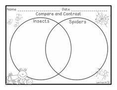 Insects and Spiders - Compare and Contrast graphic organizers, research, writing, and more!