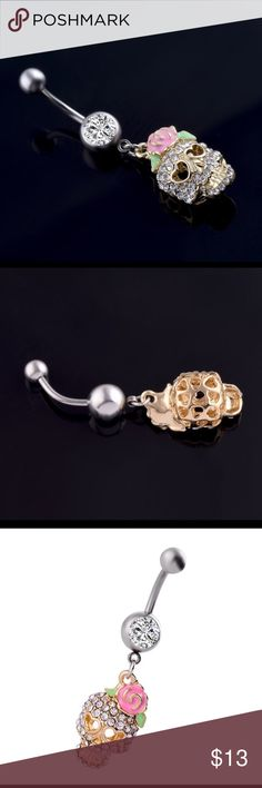 🧚♀️ Bundle Any Two $13 Items for $20🧚🏻♂️ Skull Skeleton Navel Piercing Ring  Please see photo for size and material specification Jewelry