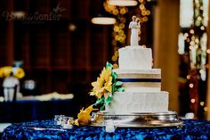 Katie and Alex's wedding at the fair barn in Pinehurst, NC BONNIE CONFER PHOTOGRAPHY  Cake by Sweet Fi's Linens by Ward Productions