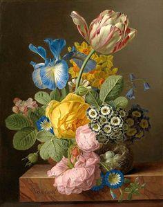 Jan Frans van Dael - A Vase Of Flowers With A Bird's Nest