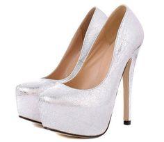 Round Toe Platform Patterned Stiletto High Heels