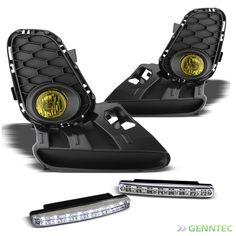 For 12-13 Mazda 3 Yellow Fog Lights Set + Daytime Running Lights DRL Combo