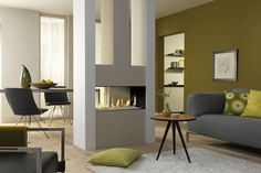 The Dru Metro Tunnel Balanced Flue Gas Fire is a gas fireplace and one of the best focal point fires.Get one at West Country Fires. Small Room Divider, Gas Fires, Living Room With Fireplace, Contemporary Fireplace, Small Living Room, Home Decor, Gas Fire Stove, Gas Fireplace, Fireplace